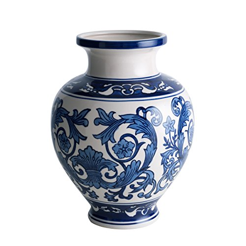 Cobalt Blue and White Porcelain Vase, Decorative Centerpiece for Home & Garden