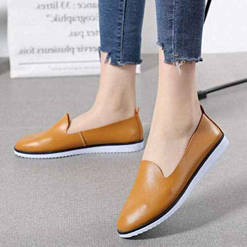 Plano para Merceditas otoño Marrón del Casual QinMM de Verano Mujer Zapatos cómodos del Mocasines Zapatillas 5E8Tqn