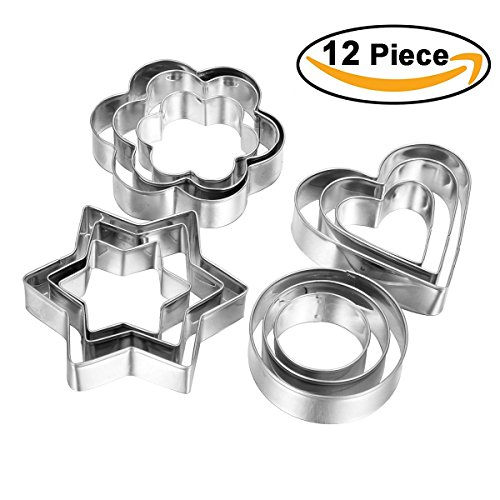 12Pcs Metal Cookie Cutter Set Stainless Steel Molds, Stars, Flowers, Round, Hearts Shape, Assorted Sizes