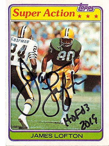 (James Lofton autographed football card (Green Bay Packers Hall of Fame) 1981 Topps #361 Super Action inscribed HOF 03)