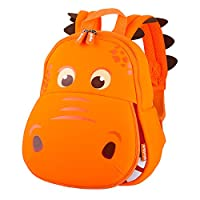 yisibo Dinosaur Backpack Hippo Kids Toddler Child Cute Zoo Waterproof 3D Cartoon Sidesick Bag for Pre School Pre Kindergarten Toddler 2-7 Years