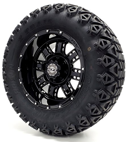 Golf Cart 12'' Madjax MJFX''Transformer'' Black Wheel and 23 x 10.5-12 Golf Cart (6-PLY) ''X-Trail'' All Terrain Tire Combo- - Set of 4 by Golf Cart King (Image #1)