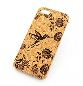"""Cork Case Snap On Cover skin for Apple IPHONE 6PLUS (5.5"""") - 'Vintage Hummingbird"""" floral flower bird japanese cherry blossom roses"""