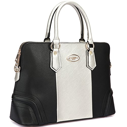 14' H 1 Light (Dasein Slim Briefcase, Satchel, Shoulder Bag, Handbag, Tablet, iPad Bag (2597 - Black/Silver))