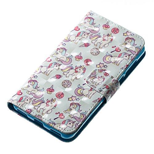 Huawei Y5 2017 Funda, Alfort 3 en 1 Carcasa Huawei Y6 2017 Cascara de Pintada Cover la Cubierta del Cuero Moda Case Con Soporte Plegable y Ranura de Tarjeta ( Grupo mariposa ) Unicornio Azul