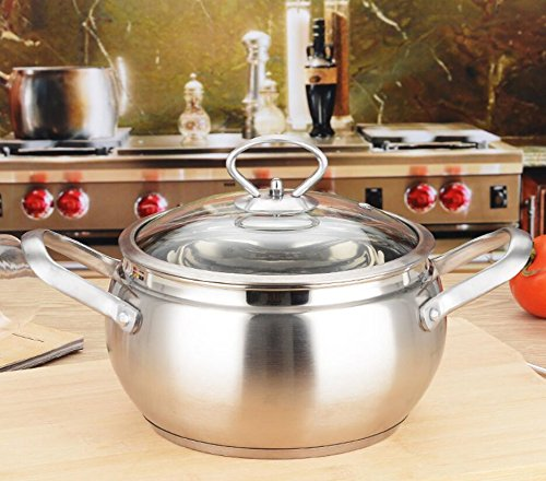 Soup pot Casserole Pan Uncoated Non-smoking pan Nonstick stainless steel double handle milk pot Thickened compound 18-24cm soup pot Mother's Day gift (Size : - Soup Cm 23