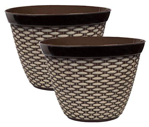 2 Decorative Basket Weave Design Embossed Plastic Planters 10