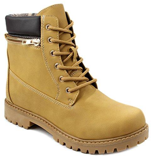 Faux Dallas10 Camel Boots Lace Ankle Nubuck Zip Combat Up Golden Decor StqarTt