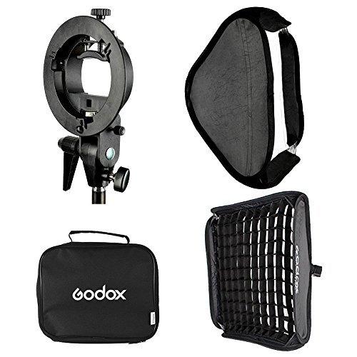(Godox 24x24inch/ 60x60cm Portable Rectangular Softbox Reflector Bowens Mount with Softbox Bag + Honeycomb Grid for Studio Strobe Photo Flash Speedlight)