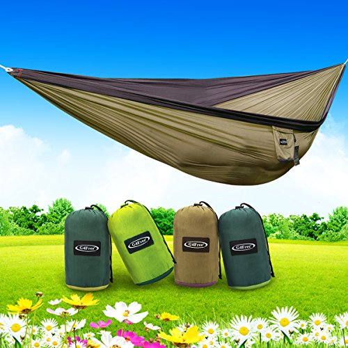 G4Free Double Camping Hammock – Portable High Strength Hammock – Lightweight Blend Color Nylon Fabric Parachute for Outdoor. Hammock Straps & Steel Carabiners include(Grey/Camel)