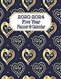 Five Year Planner & Calendar: Large Long-Term 60 Monthly Agenda Organizer Black Gold Hearts Navy (2020-2024 Simple Monthly Planners)