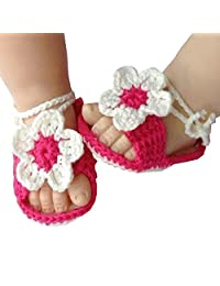 Fashion Story Newborn Soft Warm Knit Flowers ShoesFoot Band Ties Barefoot Sandals Baby Infant