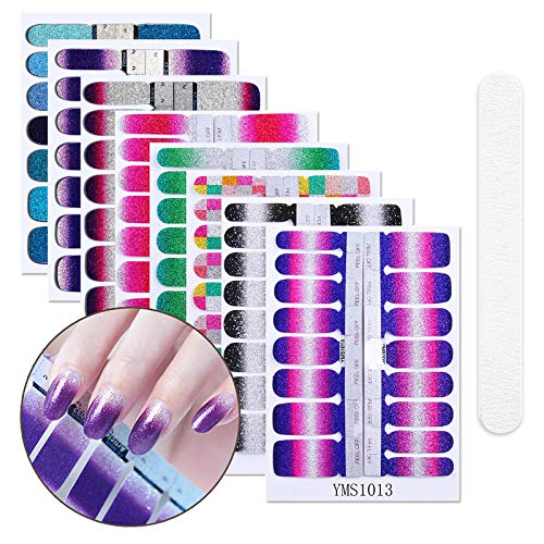 8 Sheets Full Nail Art Polish Stickers Strips Self-Ashesive False Nail Design Manicure Set With 2Pc Multifunction Nail Buffers ()