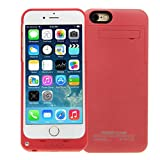 Clobeau BXT 3500mAh Capacity Rechargeable Battery Charger Case Premium External Backup Support Power Supply Protective Case Cover with Stand Support for 4.7'' Apple iPhone 6 (3500mAh Red)