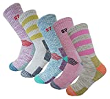 5Pack Women's Multi Performance Padded Hiking/Outdoor Crew Socks 5Pack Assortment Solid3P /Stripe2P Small