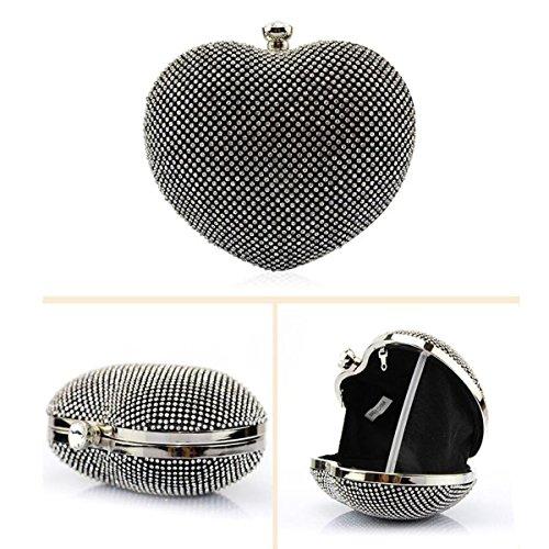 Diamante Todo El Taladro Bolso De Cadena Señora En Forma De Corazón Mini Pequeño Bolso Manera Hombro Paquete Diagonal Bolso De Tarde Black