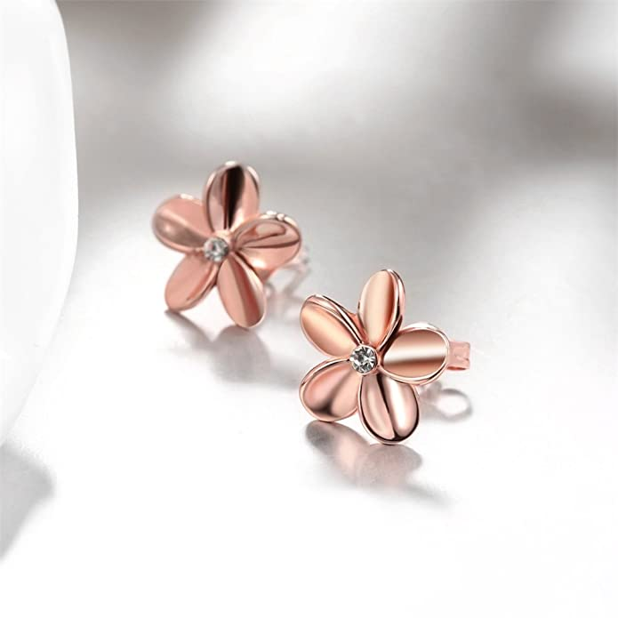 FJYOURIA Ladies Gold Earings Womens Rose Gold/Sliver Color Flower Shaped Sparkly Rhinestone Stud Earrings Best for Gift 1Qf1k