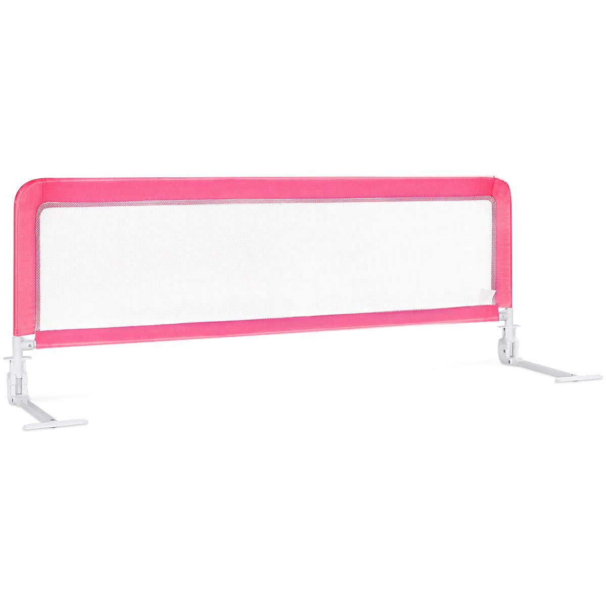 BABY JOY Toddlers Bed Rail Guard, Stainless Steel Folding Safety Bed Guard, Swing Down Bedrail for Convertible Crib, Kids Twin, Double, Full Size Queen & King (Pink, 59-Inch)