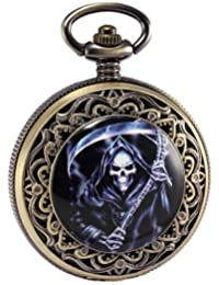 AMPM24 Mens Steampunk Death Reaper Copper Open Face Retro Pendant Pocket Watch Gift WPK169