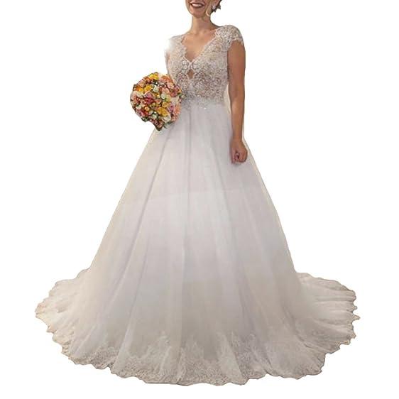 NANIYA Beaded Lace Wedding Dresses V Neck Nude Back Princess Evening ...