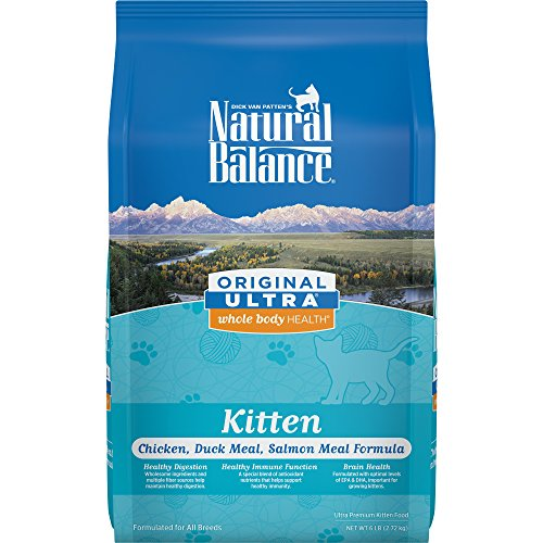 Natural Balance Kitten Formula Dry Cat Food, Original Ultra Whole Body Health Chicken, Duck Meal & Salmon Meal, 6-Pound (Best Natural Kitten Food)