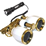 Theatre Kit: 4 x 30 White Pearl Opera Glass Binocular 4X Extra High Magnification + Compact Ultra Bright Flashlight by HQRP