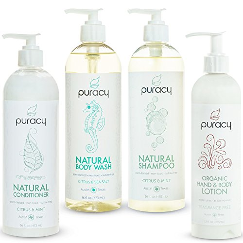 Puracy Organic Hair & Skin Care Set, Natural Body Wash, Salon-Tested Shampoo and Conditioner, Hypoallergenic Moisturizing Lotion, Sulfate and Paraben-Free (Pack of 4)