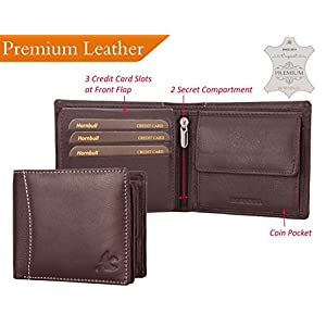 HORNBULL Men's Leather Wallet and Belt Combo(BW4595_Brown)