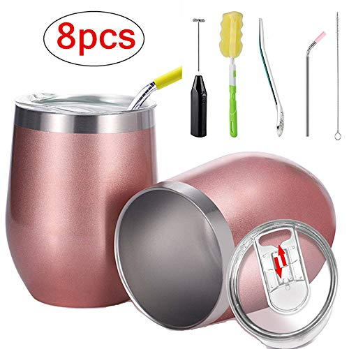 Spritech Double-insulated Wine Tumbler Set with Lid and Straw,Milk Frother,Filter Spoon,Stainless Steel Tumbler Cup for Wine,Coffee,Drinks,Champagne,Cocktails,Ice Cream Dessert,2 Sets