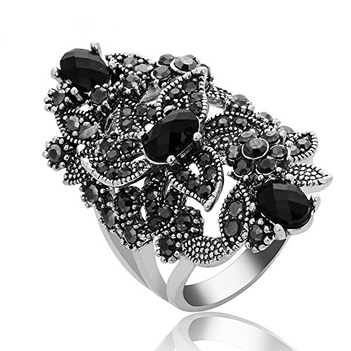 Yfnfxl Women Crystal Rhinestone Vintage Rings Black Marcasite Cocktail Statement Silver Ring (Black Ring With Rhinestones)