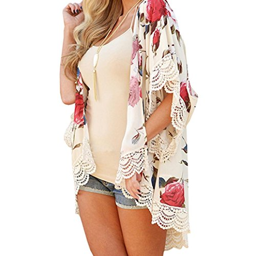 Mikey Store 3/4 Sleeve Lace Floral Kimono Cardigans Shawl Chiffon Casual Cardigan (Large, Beige) (Girls Cardigan Long)