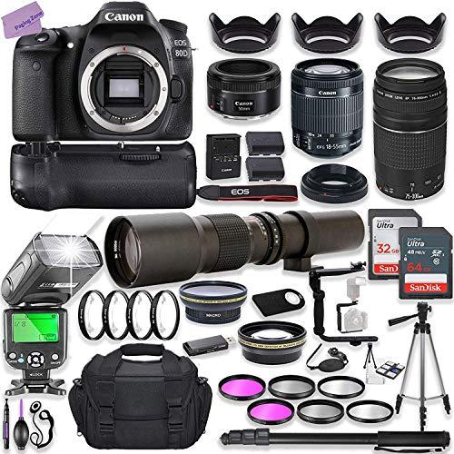 Canon EOS 80D DSLR Camera w/ 18-55mm Lens Bundle + Canon 75-300mm III Lens, Canon 50mm f/1.8 & 500mm Preset Lens…