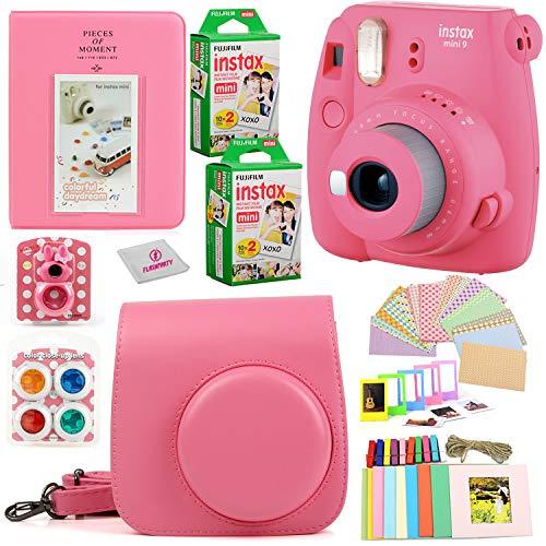 Fujifilm Instax Mini 9 Instant Printing Camera Bundle| Complete w/Case+ Instant Mini 9 Fuji Film (40-Pack) + Case + Colorful Picture Frames+ Stickers+ Selfie Mirror + Photo Album + Colored Lens & more