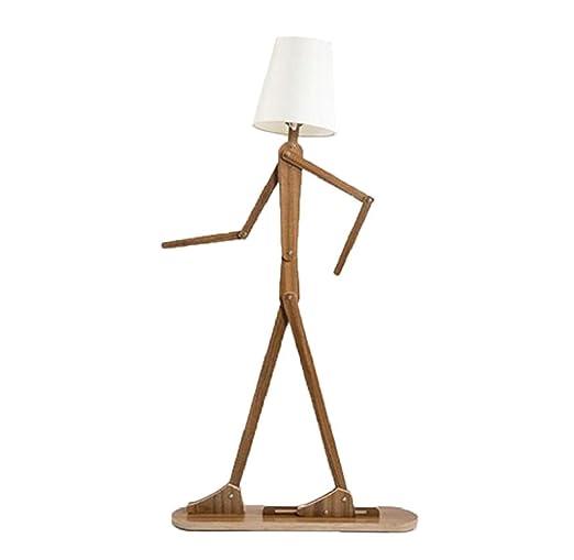 Madera pie humanoide Robot DENG E27 de lámpara torchères j54RA3L