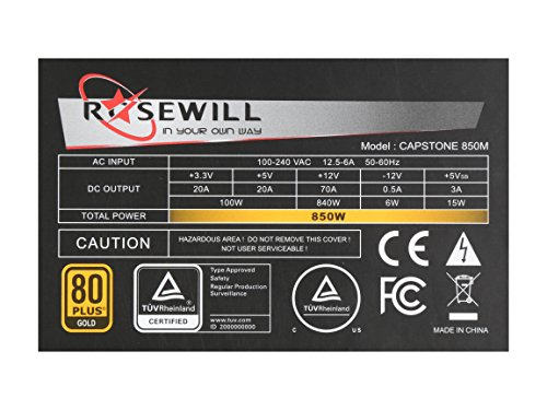 ROSEWILL Gaming 80 Plus Gold 850W Power Supply / PSU, CAPSTONE Series 850 Watt 80 PLUS Gold Certified PSU with Silent 135mm Fan and Auto Fan Speed Control, 7 Year Warranty by Rosewill (Image #5)