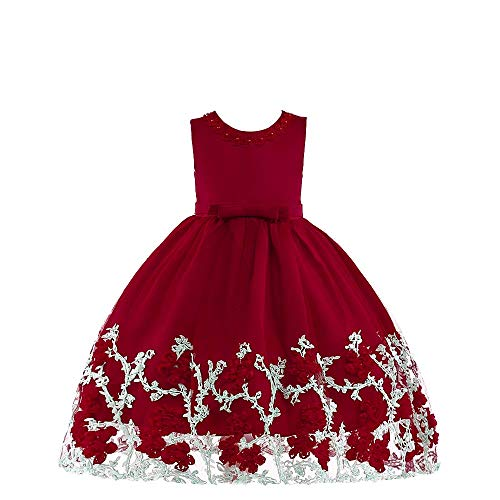 Flower Girl Dress Little Kids Formal Prom Pageant Wedding Party Birthday Bridesmaid Performance Fancy Summer Ball Gown Dresses for Girls Size 5 6 Years (Red 130)