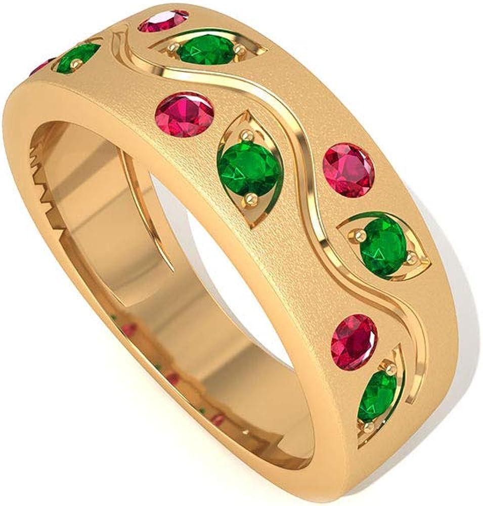 SGL Certified Ruby Esmeralda Anniversary Band, Anillo de novia de oro con piedras preciosas antiguas, anillo de promesa de hoja, anillo de compromiso con piedra natal
