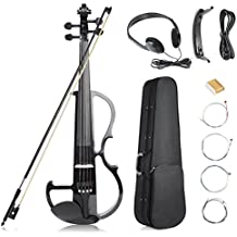Vangoa - Black Full Size 4/4 Vintage Solid Wood Metallic Electronic Silent Mahogany Violin with Ebony Fittings, Carrying Case, Audio Cable, Rosin, Bow