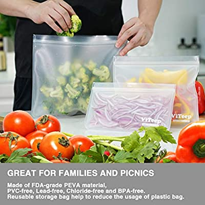 Reusable Sandwich Bags 10 Pack Extra Thick PEVA Lunch Bags Leakproof Ziplock Snack Bags Perfect for Sandwiches, Lunch, Kids Snacks, Veggies, Baby Toys, Travel or Make-Up: Kitchen & Dining