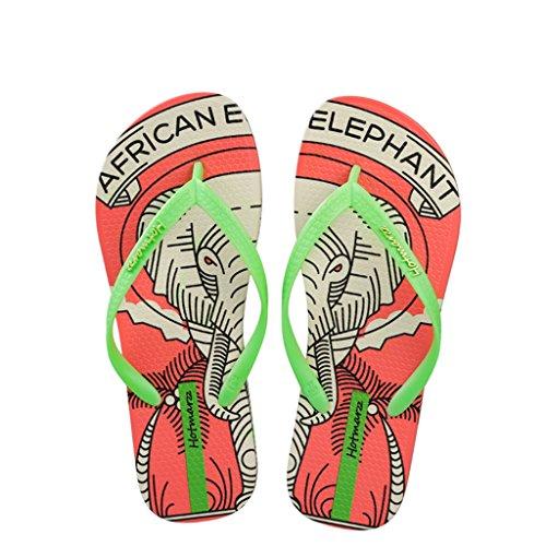 e27b3bbd Hotmarzz Chanclas para Mujer Elefante Sandalias Playa Verano Casa Ducha  Piscina Flip Flops Naranja ...