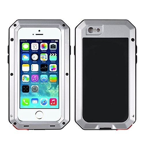 Otter Waterproof Box (iPhone 6/6S Case,Mangix Gorilla Glass Luxury Aluminum Alloy Protective Metal Extreme Shockproof Military Bumper Finger Scanner Cover Shell Case Skin Protector for Apple iPhone 6/6S 4.7inch (Silver))