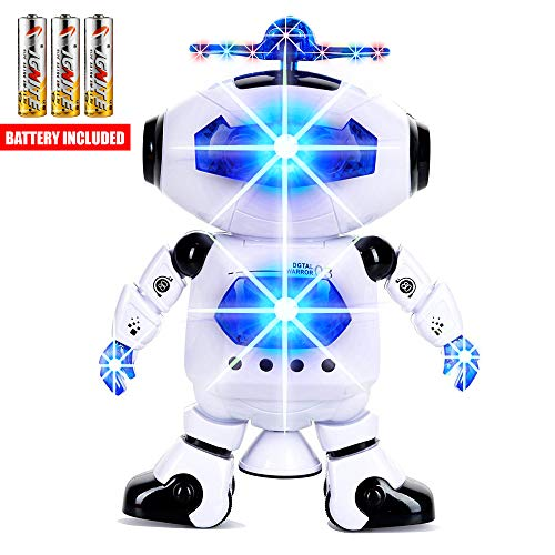 Toysery Electronic Walking Dancing Robot Toys With Music Lightening For Kids Boys Girls Toddlers, Battery Operated Included ()