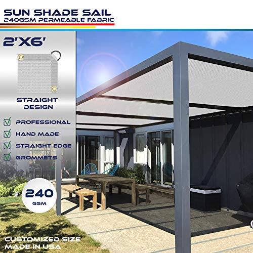 Windscreen4less Straight Edge Sun Shade Sail,Rectangle Heavy Duty 240GSM Outdoor Shade Cloth Pergola Cover UV Block Fabric – Custom Size Light Grey 2 X 6