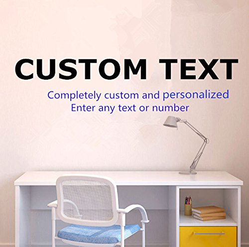 Completely custom and personalized - Enter any text or number Custom Vinyl Text Letterings Quotes Peel & Stick Sticker Personalized Wall Decal Sticker Art Mural Home Dcor Quote