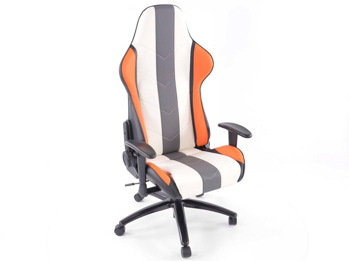 Bürostuhl Sportsitz Denver mit Armlehnen Kunstleder orange weiß grau
