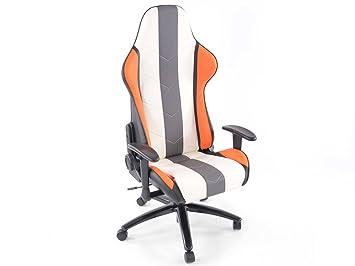 Racing Seat - Silla de oficina gaming con reposabrazos cuero sintético gris/naranja/blanco: Amazon.es: Coche y moto