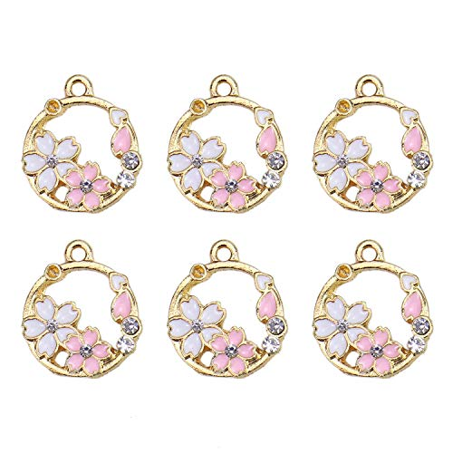 (Monrocco 20Pcs Enamel Garland Charm Flower Charm Cute Little Garlands Bracelet Charms Pendants Wholesale for Jewelry Making)