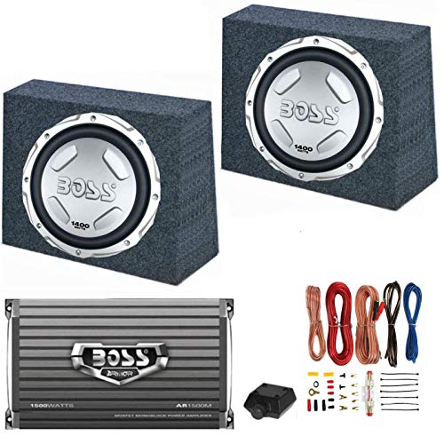 """2 BOSS Audio CX122 12"""" 1400W Car Subwoofers + Sealed Boxes + Amplifier+ Wiring"""