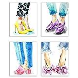 walk in closet pictures Designer Shoes Prints - Set of Four Matte Watercolor Fashion Heels Wall Art Decor Photos 8x10 - Louboutin - Jimmy Choo - Chanel
