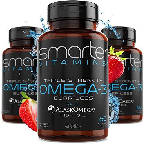 (3 Pack) Omega 3 Fish Oil, Strawberry Flavor, Burpless, Tasteless, 2000mg, Potent DHA EPA Brain Omega-3, Joint Support, Made with AlaskOmega® Triple Strength Brain Support - SMARTERVITAMINS